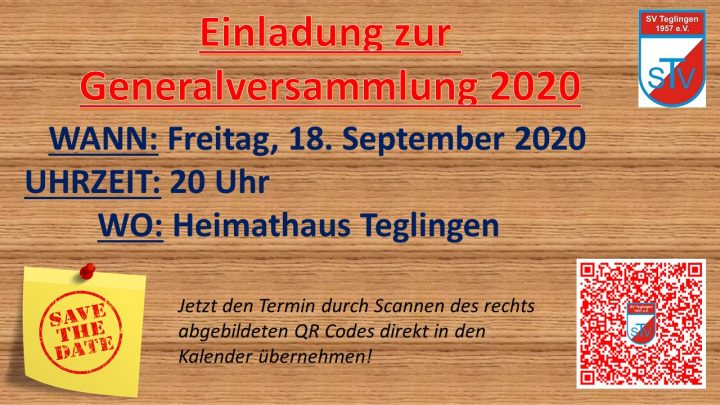 SAVE THE DATE – Generalversammlung 2020